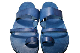 Blue Thong Leather Sandals - $80.00