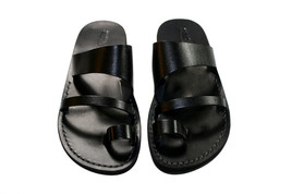 Black Thong Leather Sandals - £47.41 GBP
