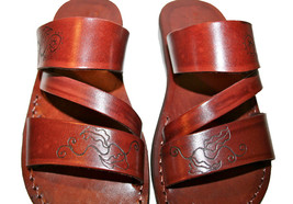 Brown Decor Flip Leather Sandals - $70.00