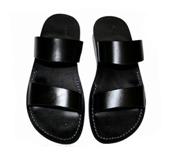 Black Bio Leather Sandals - $60.00