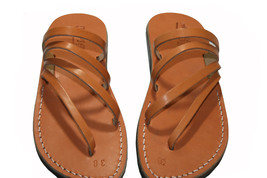 Caramel Rainbow Leather Sandals - $60.00