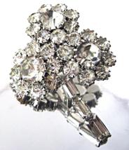 Juliana D&E Three Flower Crystal Baguette Rhinestone Large Brooch  - $48.00