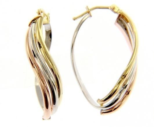 18K YELLOW WHITE ROSE GOLD OVAL HOOP WAVE EARRINGS SIZE 32 x 13 MM MADE IN ITALY