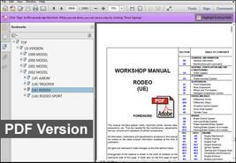 Isuzu Rodeo 1999  2002 Factory Service Repair Workshop Fsm Maintenance Manual - $14.95