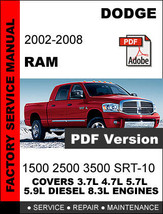 DODGE RAM 2002 2003 2004 2005 2006 2007 2008 FACTORY SERVICE REPAIR OEM ... - $14.95