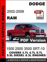 DODGE RAM 2002 2003 2004 2005 2006 2007 2008 FACTORY SERVICE REPAIR OEM ... - $14.95