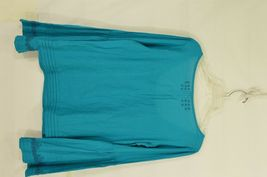 Free People top SZ S turquoise teal beaded long bell sleeves hippie boho gypsy image 10
