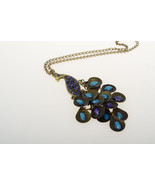 Blue Rhinestone Peacock Necklace Free Shipping - $12.00
