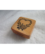 Co-Motion Rubber Stamp Heart with Rose Stamper Wooden Valentine  - $4.99