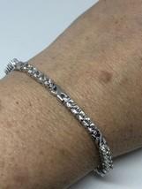 Vintage Genuine White Sapphire 925 Sterling Silver Bracelet - $133.65