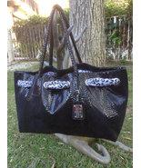 "Designer black purse with black & white Leapard print scarf 20"" x 12"" x ... - $49.99"