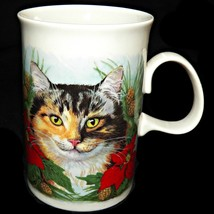 Dunoon Scotland Poinsettia Christmas Ginger Tortie Kitty Cats Coffee Tea... - $29.99