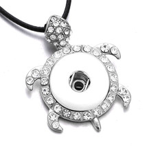 DIY Snap Jewelry Crystal Tortoise Snap Pendant Necklace Fit 18MM Snap Buttons Fa - $9.46