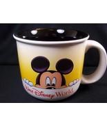 Walt Disney World Mickey Mouse coffee mug yellow & white black interior ... - $13.42