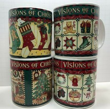 Sakura VTG 1996 Debbie Mumm Vision Of Christmas Set of 4 Coffee Mugs - $25.25