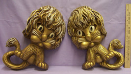 Pair of Plastic Homco Lion Wall Hanging Decor Gold w/ White Accent Cute - $15.04
