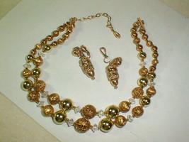 Necklace earring set 1950s japan gold metal beads w aurora borealis ornate - $50.00