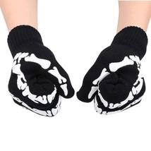 Simplicity Unisex Full Finger Skeleton Pattern Glow in the Dark Knit Gloves - $13.57+