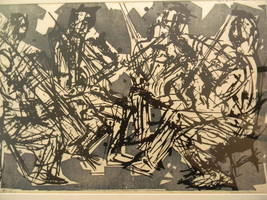 Eugene D. Larkin (1921 - 2010) . Listed artist . Woodcut Print . Quartet... - $3,995.00