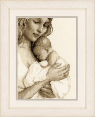 Primary image for Mother and Child 14ct aida baby birth cross stitch kit Vervaco