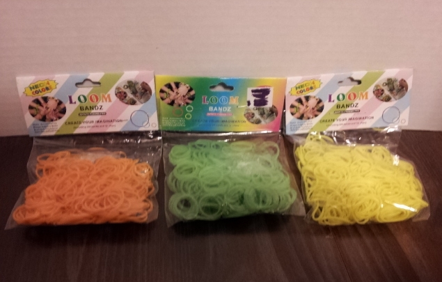 Primary image for 3 packs of Loom Bands 300 Pc each Neon Yellow, Neon-Orange,Light Neon-Green