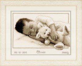 Cuddling 14ct aida baby birth cross stitch kit Vervaco   - $31.50