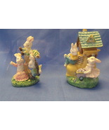 Easter Figurines Set of 2 Bunnies with house and Bunnies on a tire swing - $6.95