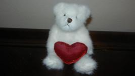 "Russ Teddy Bear ~ Bear Hugs ~ Small 6"" White Fluffy Holding Puffy Red Heart - $9.99"