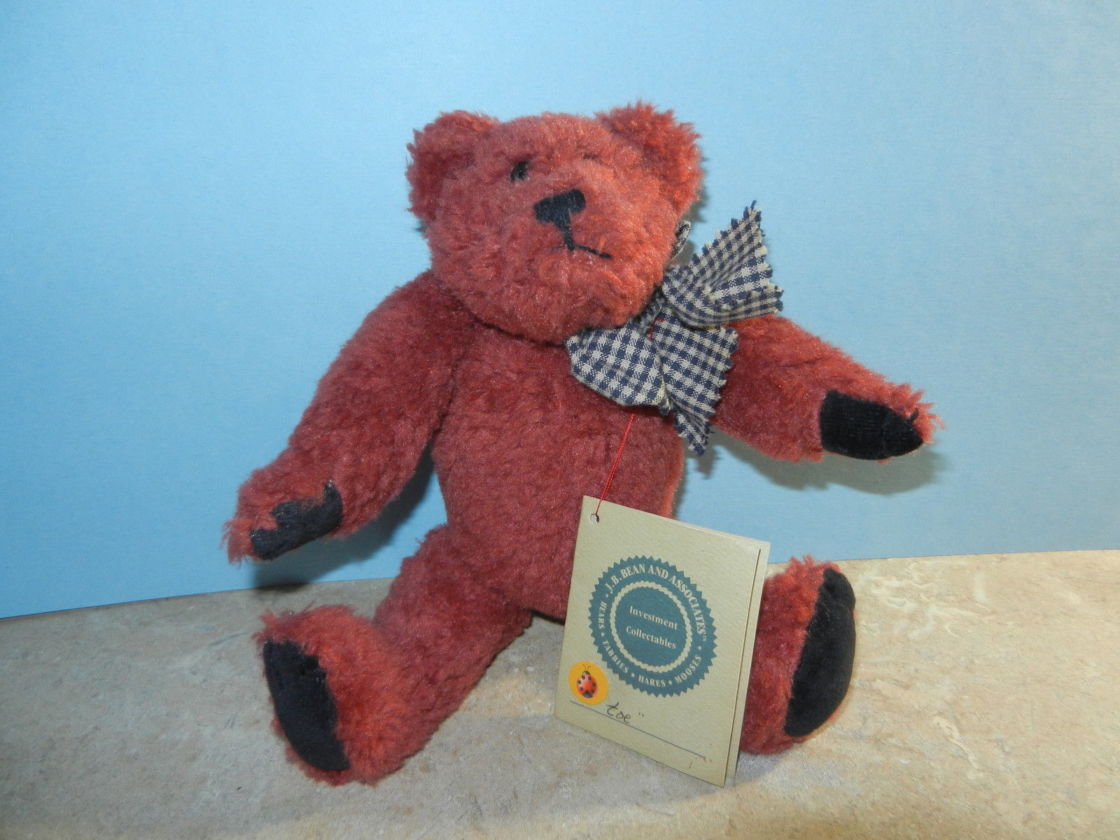 Primary image for Boyds Bears Teddy Bear ~ Toe ~ MWT Mint Red Fur Blue & Tan Check Ribbon