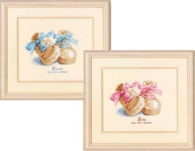 Primary image for Baby Shoes Pink Blue Laces Kit 18ct aida baby birth cross stitch kit Vervaco