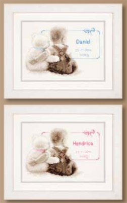 Primary image for Birth Announcement Kit 14ct aida baby birth cross stitch kit Vervaco