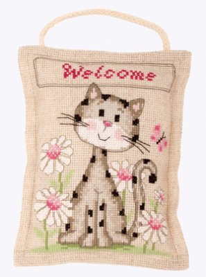 Primary image for Welcome Cat Deco Cushion 14ct aida linen cross stitch kit Vervaco