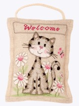 Welcome Cat Deco Cushion 14ct aida linen cross stitch kit Vervaco   - $21.60