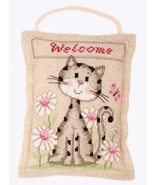 Welcome Cat Deco Cushion 14ct aida linen cross ... - $21.60