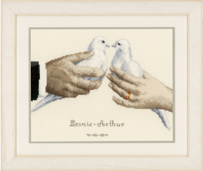 Primary image for Wedding Doves Kit 14ct aida cross stitch kit Vervaco