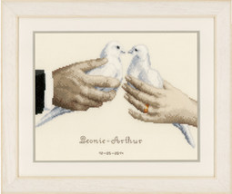 Wedding Doves Kit 14ct aida cross stitch kit Vervaco   - $31.50