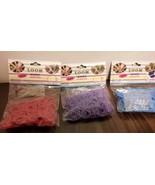 3 packs of Loom Bands 300 Pc each Red, Purple, Medium Blue New - $1.99