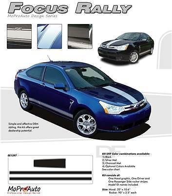 Ford Focus GRAPHICS Rally Racing HOOD Stripes Decals -3M Pro 313 Vinyl
