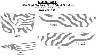 FITS KIA 3M Pro Vinyl SOUL CAT GRAPHICS Stripes Decals 2011 636