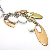 925 Silver Necklace, White Agate Pendant, Cluster, Oval Pink, Chain Rolo image 3