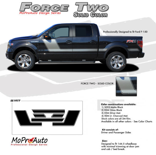 2010 F-150 FORCE TWO Solid Color Side Hockey Decals Stripes Vinyl Graphics 2TW