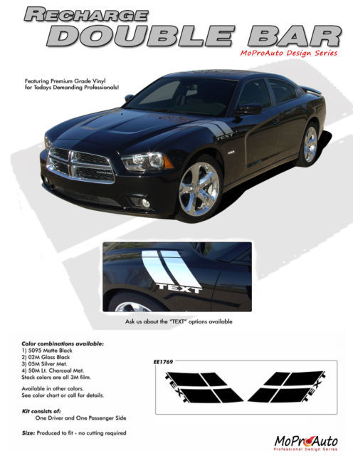 2014 Dodge Charger DOUBLE BAR Hood Hash Side Decals Graphics Pro 3M Vinyl K22
