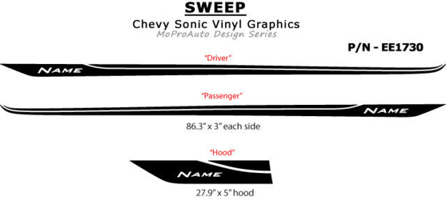 / Chevy SONIC 2013 / Pro Grade Vinyl Graphics SWEEP / 3M Stripes Decals Kit HY6