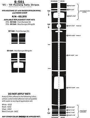 Mustang GT Racing Rally Stripes Decals Graphics - 3M Pro Vinyl * 2007 527
