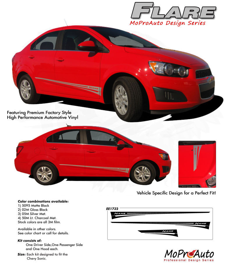 Chevy SONIC GRAPHICS FLARE/ 2014 Pro Grade Vinyl / Stripes Decals  * 3M NA6