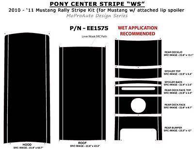Mustang - Pro Grade 3M PONY Hood CENTER Stripe Decals Graphics 2012 * 487