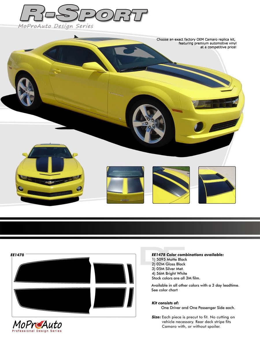 2012 OE Style Camaro Rally - 3M Pro Vinyl Racing Stripes Decals BLACK or ALL 731