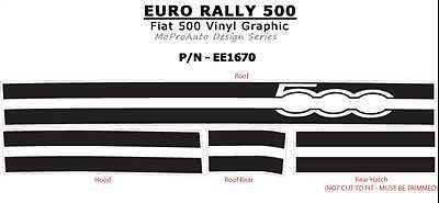 2011 Fiat 500 EURO RALLY Hood Roof Stripes Decals Graphics Pro 873 3M Vinyl