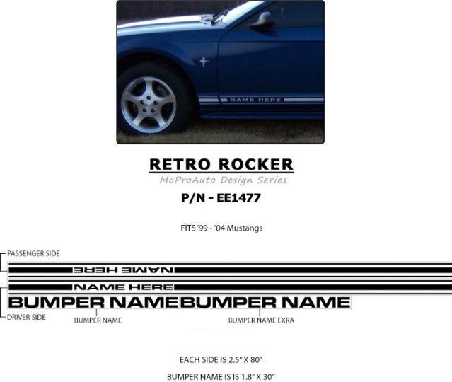 RETRO Mustang ROCKER - 3M Pro Vinyl Panel Stripes Decals Graphics 2004 995