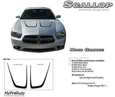 2012 Dodge Charger SCALLOP HOOD Stripes Decals Graphics Pro Grade 3M Vinyl 256